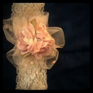 Rose pink(blush) & ivory floral lace headband